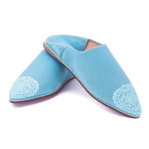 Sky Blue Velvet embroidered Slippers