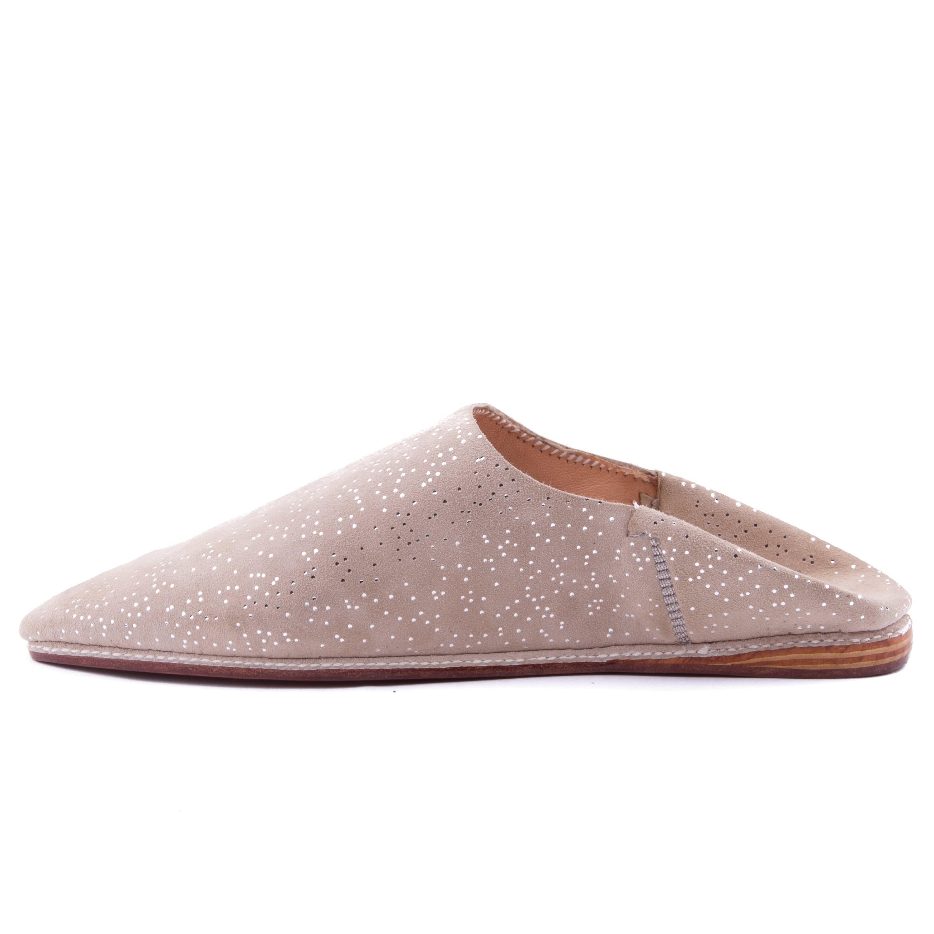 Starry beige leather slippers