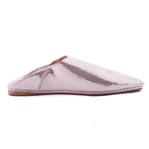 Silver and glossy pink leather slippers