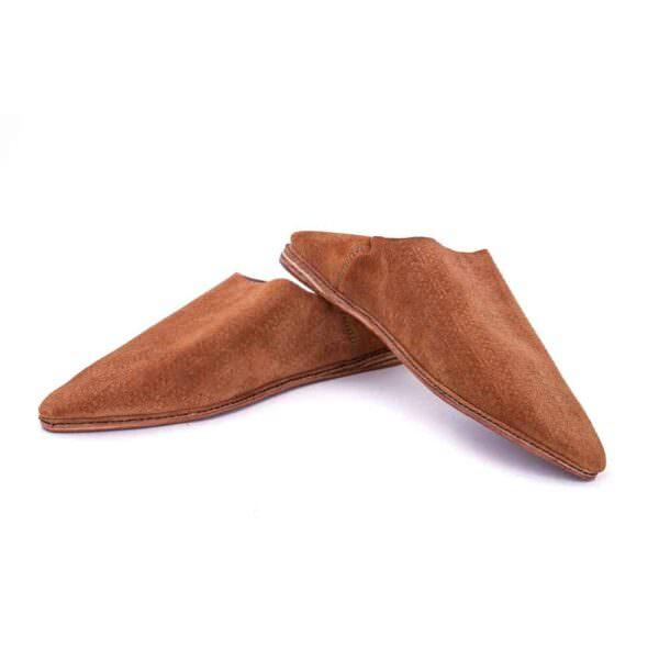 babouche-cuir-daim-femme-marron