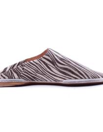 babouche tête ronde Marocaine en cuir motif zèbre
