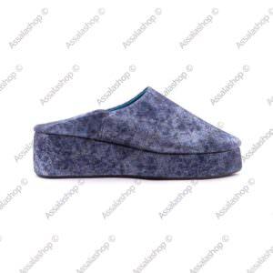 Babouche-compensée-En-Cuir-Bleu