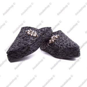 babouche compensée en cuir noir perlé